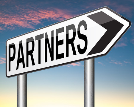 Photo pour Partners our business partnership and cooperation group in team work - image libre de droit