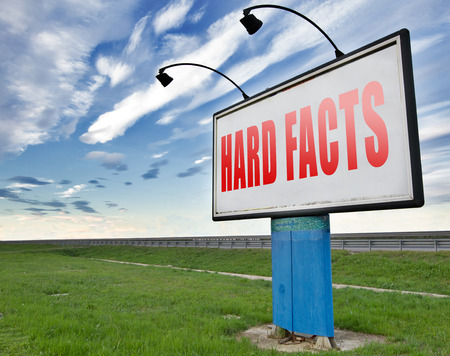 hard facts or proof, scientific proven fact and truth, road sign billboard.