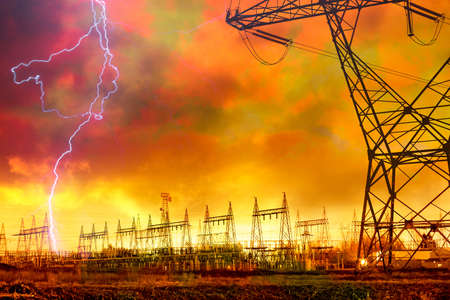 Photo pour Dramatic Image of Power Distribution Station with Lightning Striking Electricity Towers. - image libre de droit