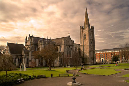 Saint Patrick's Cathedral in Dublin, Ireland on an overcast day.