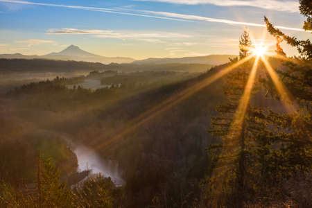 Beautiful Image of Mt  Hood taken during sunrise from Jonsrud view point in Sandy, Oregon, USA