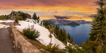Panoramic View of Crater Lake and the Historic Crater Lake Lodge