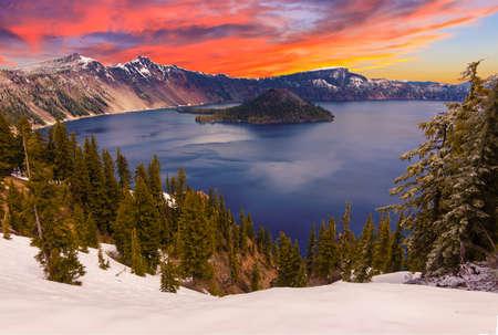 Crater Lake image takne at Sunset