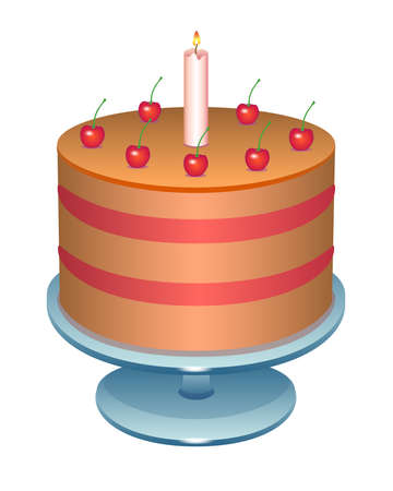 Illustration pour Cherry cake with a candle. Birthday cake on a stand - vector full color illustration. Puff cake decorated with cherries and candles - festive sweets. - image libre de droit
