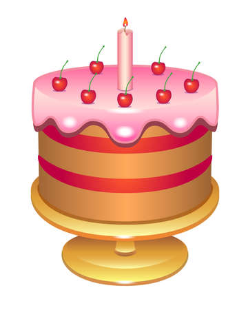 Illustration pour Cherry cake with a candle covered with icing. Birthday cake on a platter - vector full color illustration. Glazed cake decorated with cream cherries and candles - festive sweets. - image libre de droit