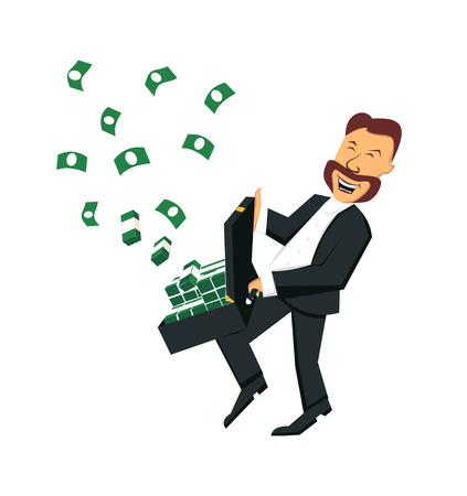 The happy businessman with a suitcase of money