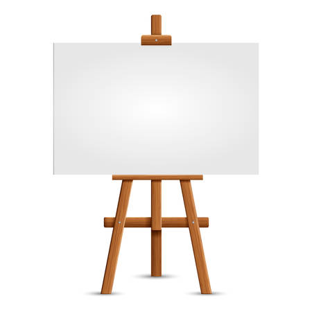 Illustration for Blank art board and realistic wooden easel. Wooden Brown  Easel with Mock Up Empty Blank Square Canvas Isolated on white background. Vector illustration  - Royalty Free Image