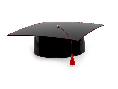 Graduation cap isolated on white background. 3d model