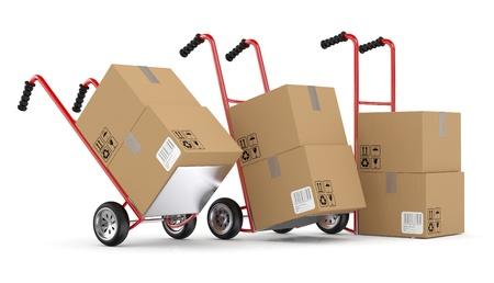 Foto de Hand trucks and carboard boxes. 3D model isolated on white background - Imagen libre de derechos