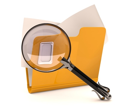 Search concept. Folder with magnifying glass
