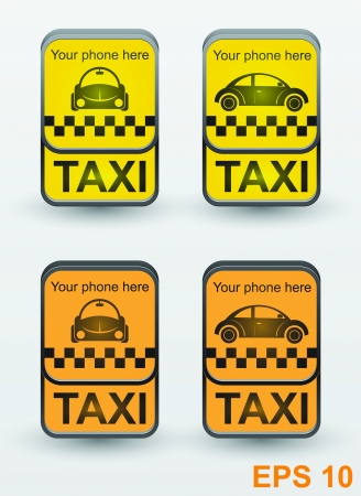 Taxi cab set icons signs: Royalty-free vector graphics