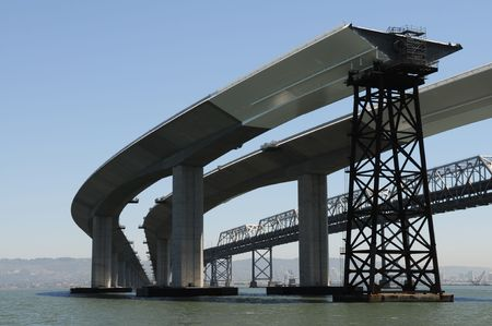 The San Francisco Bay Bridge, existing and new under construction spans
