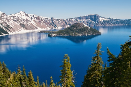 Snow in summer on Crater Lake, Oregon