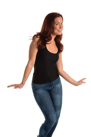 Pretty redheaded woman in a black tank top