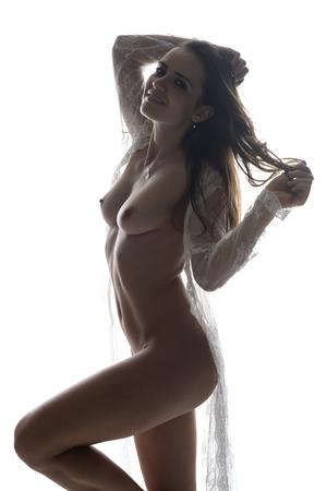Photo pour Beautiful slender Romanian brunette nude in a white lace wrap - image libre de droit