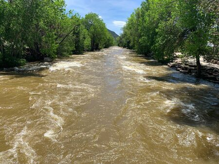 Rushing water in the Arkansas River, Salida, Colorado