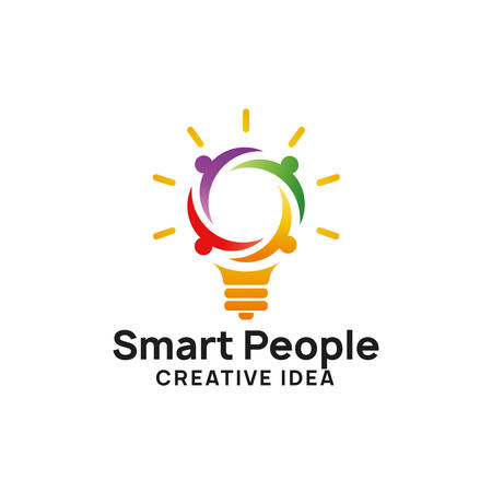 Ilustración de smart people logo design template. creative idea logo designs. bulb icon symbol design - Imagen libre de derechos