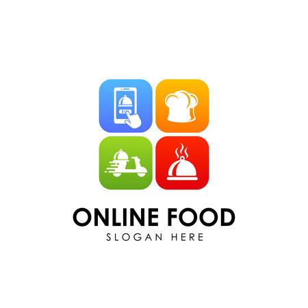 Ilustración de online food order delivery service logo design - Imagen libre de derechos