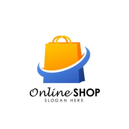 Ilustración de online shop logo design vector icon. shopping logo design - Imagen libre de derechos