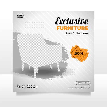 Illustration for Minimalist furniture sale banner or social media post template - Royalty Free Image