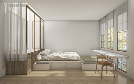 Photo for 3d rendering japanese style bedroom with minimal decoration - Royalty Free Image