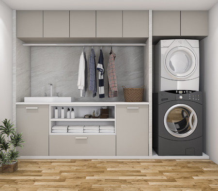 Photo for 3d rendering wood minimal laundry room with plant - Royalty Free Image
