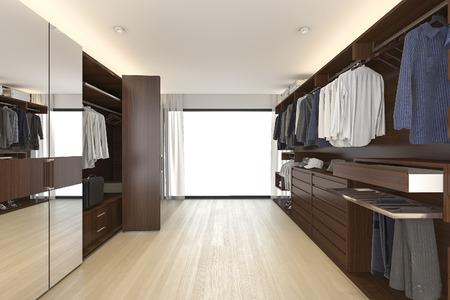 Photo pour 3d rendering beautiful wood horizontal wardrobe and walk in closet near window - image libre de droit