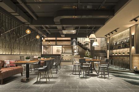 Foto de 3d rendering loft and luxury hotel reception and cafe lounge restaurant - Imagen libre de derechos