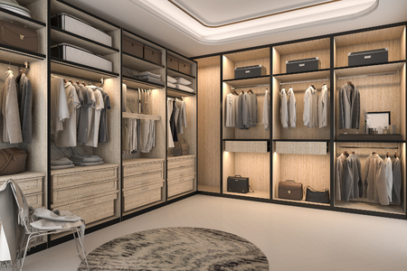 Photo pour 3d rendering minimal loft luxury wood walk in closet with wardrobe - image libre de droit