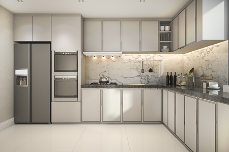 Photo pour 3d rendering beautiful modern kitchen with marble decor - image libre de droit