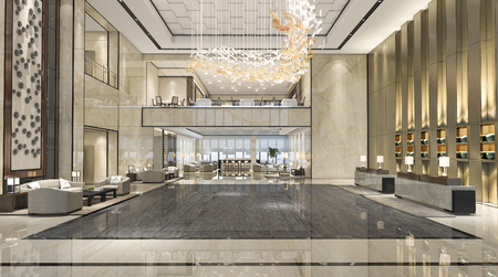 Photo for 3d rendering luxury hotel reception hall and lounge restaurant - Royalty Free Image