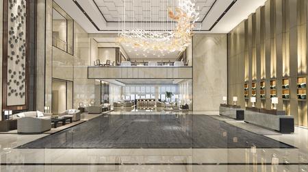 Foto de 3d rendering luxury hotel reception hall and lounge restaurant - Imagen libre de derechos