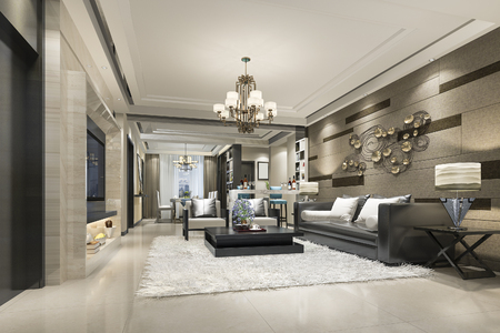 Photo pour 3d rendering luxury and modern living room and dining room - image libre de droit