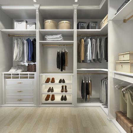 Photo pour 3d rendering luxury scandinavian wood walk in closet with wardrobe - image libre de droit