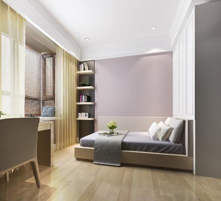 Photo pour 3d rendering beautiful pink vintage kid bedroom - image libre de droit