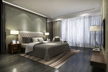 Foto de 3d rendering beautiful luxury bedroom suite in hotel with tv - Imagen libre de derechos