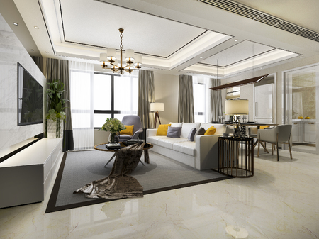Photo pour 3d rendering modern dining room and living room with luxury decor - image libre de droit