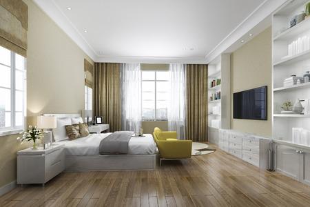 Foto de 3d rendering contemporary wood bedroom with built in bookshelf - Imagen libre de derechos
