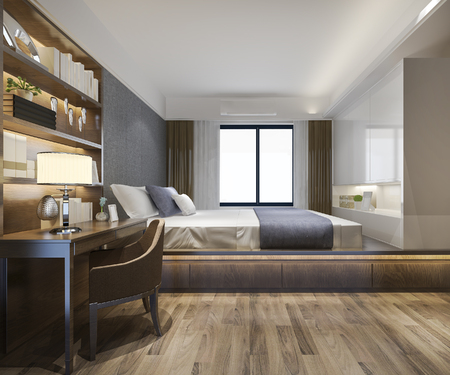 Photo pour 3d rendering beautiful luxury bedroom suite in hotel with tv and working table - image libre de droit