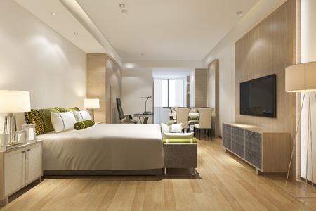 Photo for 3d rendering luxury modern bedroom suite in hotel - Royalty Free Image