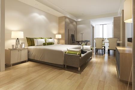 Photo pour 3d rendering luxury modern bedroom suite in hotel - image libre de droit
