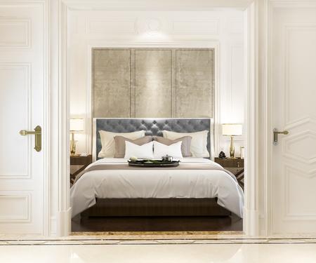Photo pour 3d rendering modern luxury classic bedroom with marble decor - image libre de droit