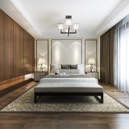 Photo pour 3d rendering luxury chinese modern bedroom suite in hotel with wardrobe - image libre de droit