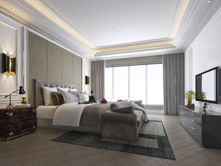 Photo for 3d rendering beautiful luxury bedroom suite in hotel with tv - Royalty Free Image