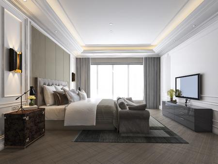 Photo pour 3d rendering beautiful luxury bedroom suite in hotel with tv - image libre de droit