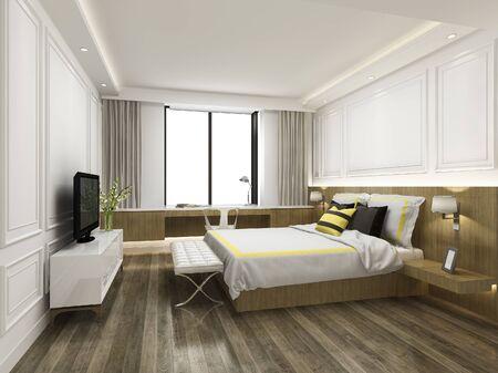 Photo pour 3d rendering vintage minimal bedroom suite in hotel with tv - image libre de droit