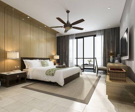 Photo pour 3d rendering luxury tropical bedroom suite in resort hotel and resort - image libre de droit