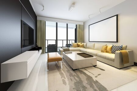 Photo pour 3d rendering luxury and modern living room with fabric sofa with mock up frame - image libre de droit