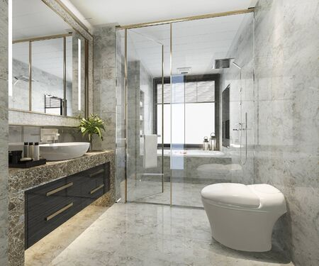 Photo pour 3d rendering classic modern bathroom with luxury tile decor - image libre de droit