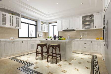 Foto de 3d rendering scandinavian vintage modern kitchen with dining area - Imagen libre de derechos